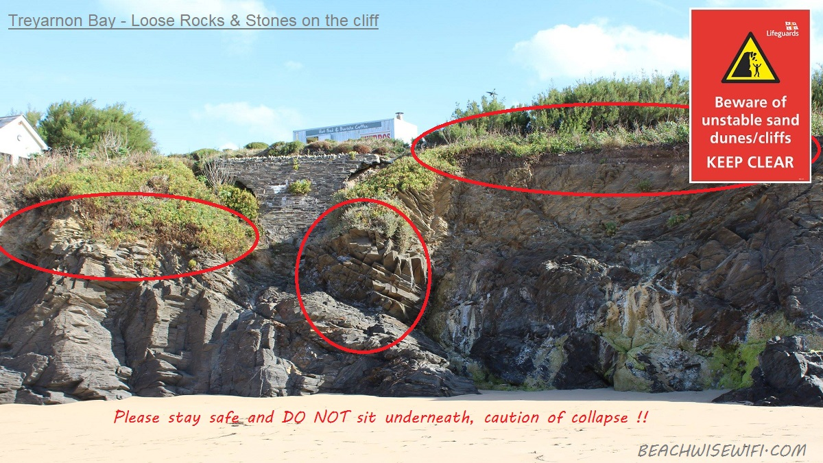 Treyarnon-Loose-rocks-and-stone-on-cliff.-Stay-away-and-do-not-sit-underneath.-Caution-risk-of-collapse.